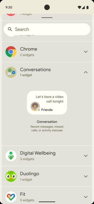 Early Android 12 Mockup Conversations Widget 2 312x675 1