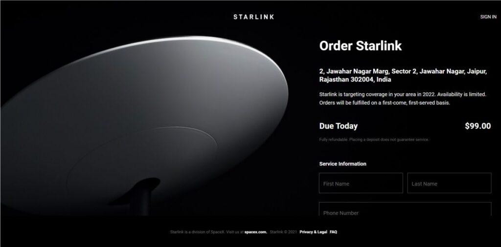 Starlink satellite internet service in India