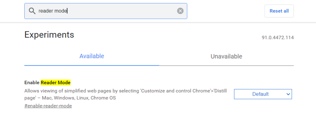 Enable Chrome Flags Readers Mode