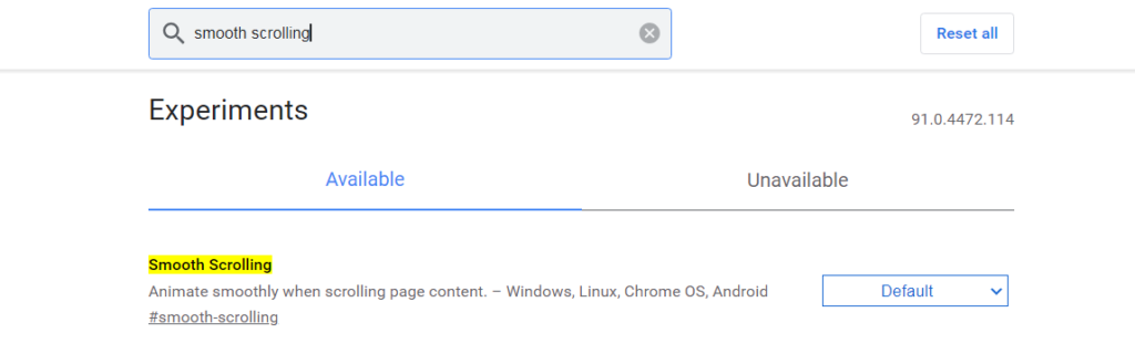 Enable Chrome Flags Smooth Scrolling