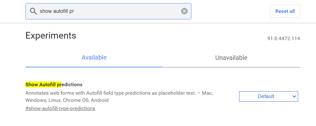 Enable Chrome Flags Show Auto Predictions