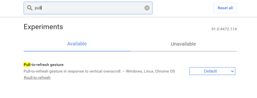 Enable Chrome Flags Pull To Refresh
