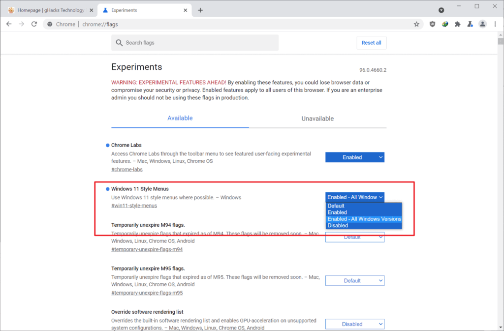 Windows 11 styled rounded menu for google chrome